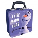 "Olaf from Frozen ""I Like Warm Hugs"" Square Tin Tote VALIGETTA PORTA OGGETTI FROZEN 5055453441745"